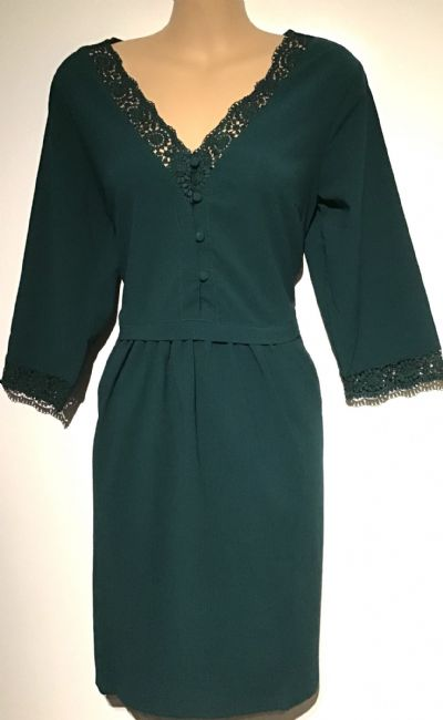 FOREST GREEN LACE TRIM BUTTON TUNIC DRESS BNWT SIZE 10-12